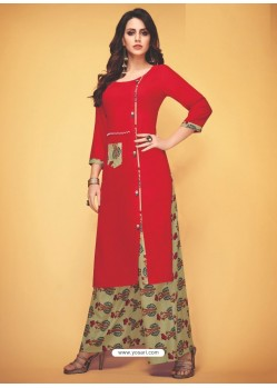 Red Rayon Slub Hand Worked Readymade Kurti With Palazzo