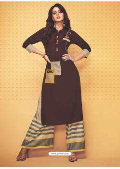 Coffee Rayon Slub Hand Worked Readymade Kurti With Palazzo