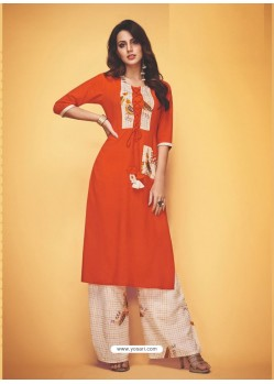 Orange Rayon Slub Hand Worked Readymade Kurti With Palazzo