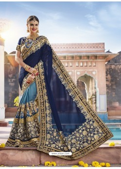 Navy Blue Georgette And Net Heavy Embroidered Party Wear Saree