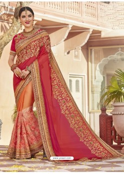 Red Art Silk And Net Heavy Embroidered Party Wear Saree