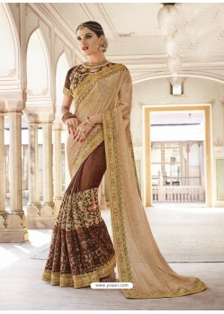 Beige Art Silk And Georgette Heavy Embroidered Party Wear Saree