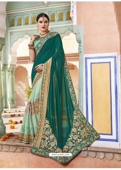 Dark Green Rangoli Silk And Net Heavy Embroidered Party Wear Saree