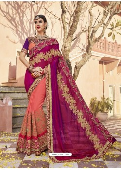 Multi Colour Two Tone Art Silk Heavy Embroidered Party Wear Saree