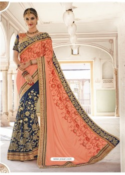 Light Orange And Blue Georgette And Art Silk Heavy Embroidered Party Wear Saree