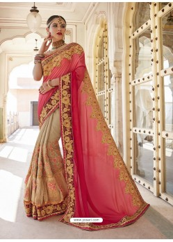 Light Red And Beige Georgette And Net Heavy Embroidered Party Wear Saree
