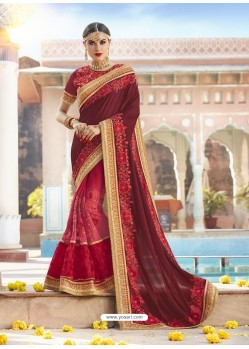 Maroon Georgette And Net Heavy Embroidered Party Wear Saree