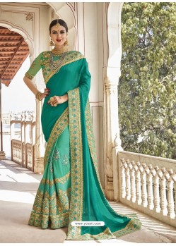 Aqua Mint Georgette And Net Heavy Embroidered Party Wear Saree