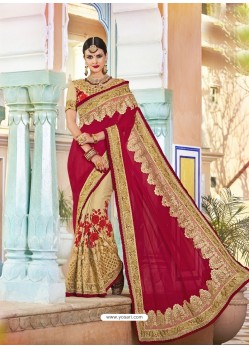 Red And Beige Georgette And Net Heavy Embroidered Party Wear Saree
