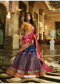 Blue And Orange Banarasi Silk Heavy Embroidered Designer Lehenga Choli