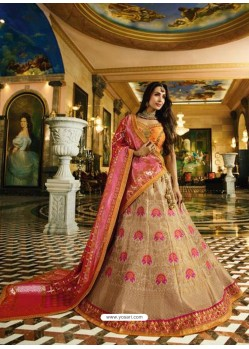 Orange And Light Beige Banarasi Silk Heavy Embroidered Designer Lehenga Choli