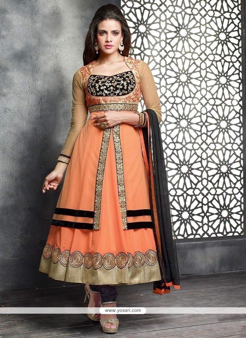 Modish Orange Net Designer Anarkali Suit