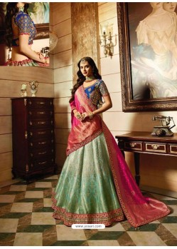 Navy And Sky Blue Banarasi Silk Heavy Embroidered Designer Lehenga Choli