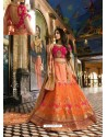 Orange And Rani Banarasi Silk Heavy Embroidered Designer Lehenga Choli