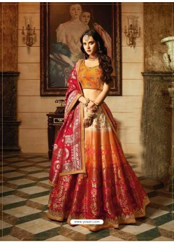 Orange And Multi Banarasi Silk Embroidered Designer Lehenga Choli