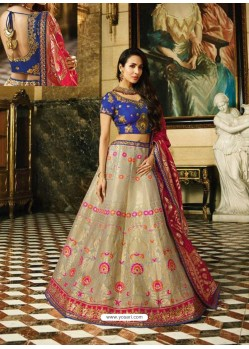 Navy And Multi Banarasi Silk Heavy Embroidered Designer Lehenga Choli