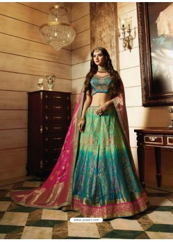 Teal Blue Banarasi Silk Heavy Embroidered Designer Lehenga Choli