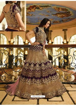 Purple Velvet Heavy Embroidered Designer Lehenga Choli