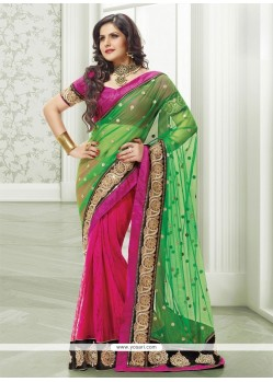 Gorgeous Pink And Green Net Designer Saree
