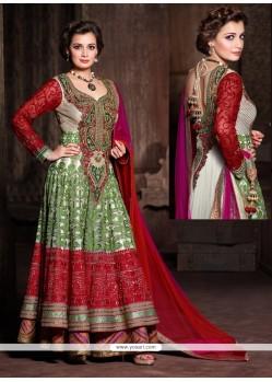 Diya Mirza White Net Designer Anarkali Suit