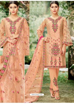 Light Orange Tissu With Inner Rasel Net Embroidered Straight Suit