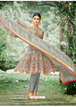 Grey Tissu With Inner Rasel Net Embroidered Straight Suit