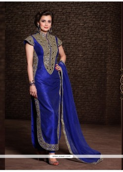 Diya Mirza Blue Banarasi Silk Churidar Suit