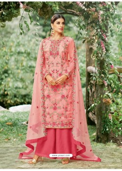 Pink Tissu With Inner Rasel Net Embroidered Palazzo Suit