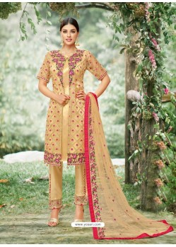 Golden Tissu With Inner Rasel Net Embroidered Straight Suit