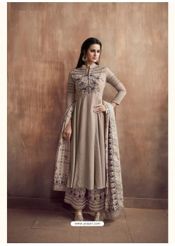 Light Brown Pure Heavy Maslin Palazzo Suit