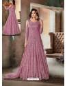 Hot Pink Top Net Heavy Embroidered Designer Floor Length Suit