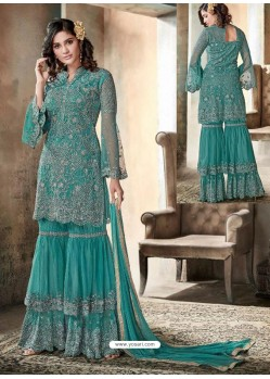 Teal Top Net Heavy Embroidered Designer Palazzo Suit