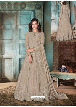 Light Brown Top Net Heavy Embroidered Designer Floor Length Suit