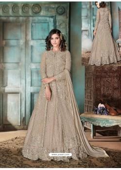 Light Brown Top Net Heavy Embroidered Designer Floor Length Suit