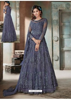 Dark Blue Top Net Heavy Embroidered Designer Floor Length Suit