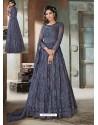 Dark Blue Top Net Heavy Embroidered Designer Floor Length Suit