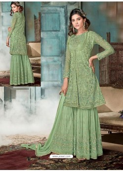 Green Top Net Heavy Embroidered Designer Palazzo Suit