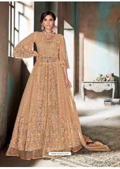 Light Orange Top Net Heavy Embroidered Designer Floor Length Suit