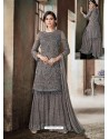 Dull Grey Top Net Heavy Embroidered Designer Palazzo Suit