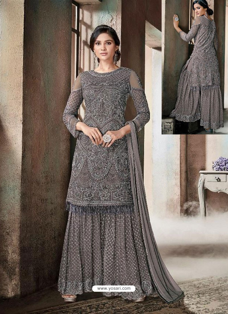 2ac3b95d132 Buy Dull Grey Top Net Heavy Embroidered Designer Palazzo Suit ...