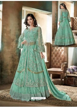 Sky Blue Top Net Heavy Embroidered Designer Floor Length Suit