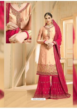 Rani And Peach Heavy Embroidered Designer Sarara Suit