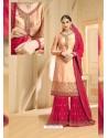 Rani And Peach Heavy Embroidered Designer Sarara Suit