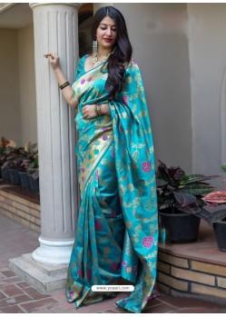 Turquoise Banarasi Patola Silk Designer Saree