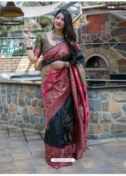 Black And Red Banarasi Patola Silk Designer Saree