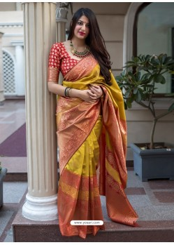 Yellow And Orange Banarasi Patola Silk Designer Saree