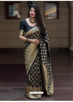 Pretty Black Banarasi Patola Silk Designer Saree