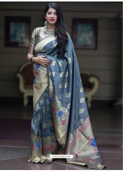 Grey Banarasi Patola Silk Designer Saree