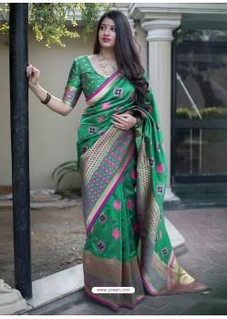 Dark Green Banarasi Patola Silk Designer Saree