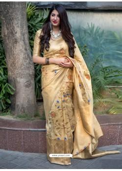 Light Beige Banarasi Patola Silk Designer Saree